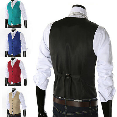 Mens Fashion Casual Formal Business Suit Vest Slim Dress Waistcoat Jacket Coat