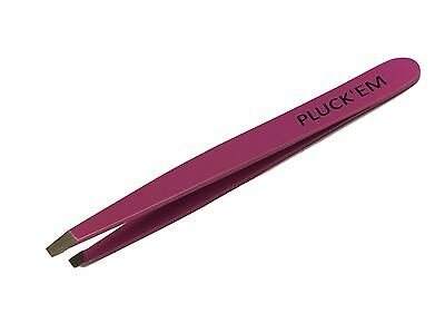 Professional New Stainless Steel Tweezers, Slanted, Pluck'Em, Pink, Eyebrow