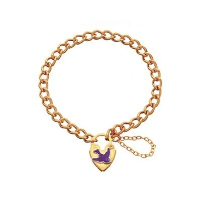 Childrens/baby Gpl Bracelet With Bluebird Of Happiness Padlock & Safety Chain