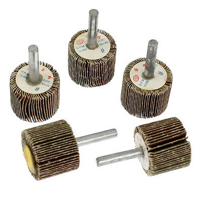 5 Pcs 30mm Head Metal Shank Abrasive Mounted Flap Wheels Brush Bit 05S8