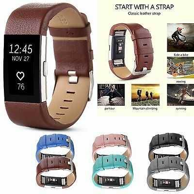Sports Genuine Leather Watch Band Strap For Fitbit Charge 2 Wrist Band Bracelet