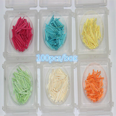 100pc Dental Eco-friendly Wooden Round Wedges Tips Smooth Round Edge Colorful