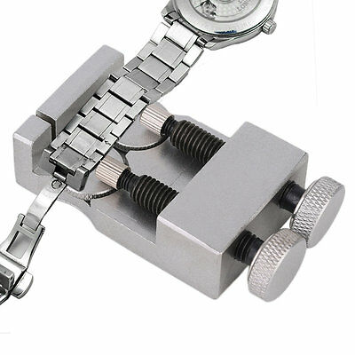 Double Clasp Metal Steel Watch Bracelet Solid Adjustment Table Silver OE