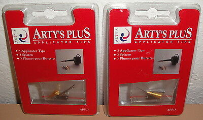 ARTY'S PLUS APPLICATOR TIPS LOT - 3 Tips & Wires Set of 2 Metal 0.3mm .5mm .7mm