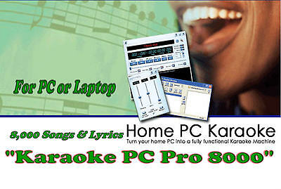KARAOKE MACHINE For PC . NEW 8500 + SONGS For PC-Laptop & 2 Player Programs