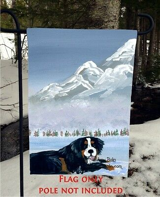 Bernese Mountain DOG KEEPING WATCH  12 By 18 GARDEN FLAG no pole by Amy Bolin