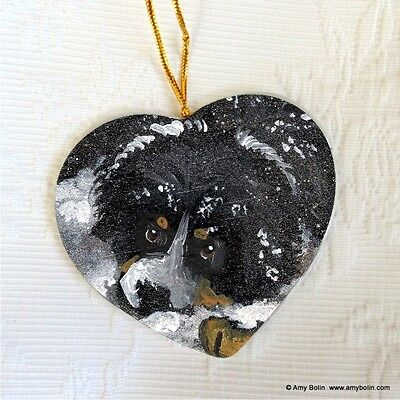 BERNESE MT. DOG CERAMIC HEART SHAPE Christ. ORNAMENT by Amy Bolin  FIRST WINTER