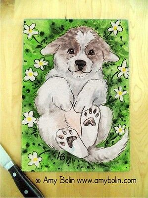 Great Pyrenees puppy Large Glass CUTTING BOARD by Amy Bolin Love