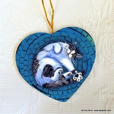 CAT CERAMIC HEART SHAPE CHRISTMAS ORNAMENT by Amy Bolin GIVE ME 5 CAT