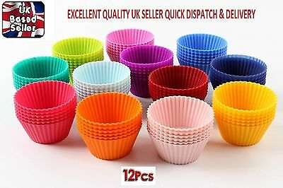 12 Pcs multi colour silicone cake muffin cupcake cases mold round shape baking