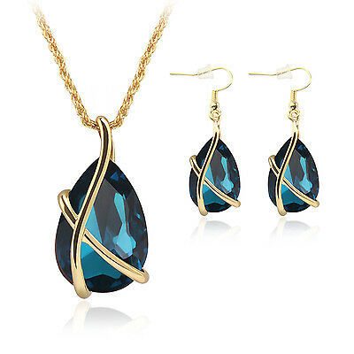 Crystal Tear Drop Pendant Necklace Earrings Wedding Prom Bridal Jewelry Set