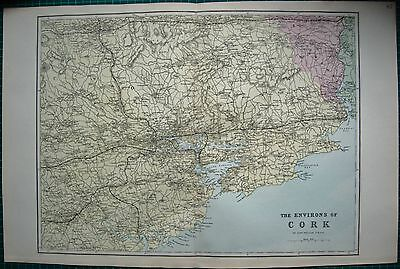 1884 Large Antique Map-Bacon -Weller-Environs Of Cork