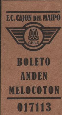 Chile Train Ticket F.C. Cajon del Maipo Boleto Anden Melocoton 017113