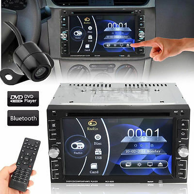 "Digital 6.2"" Double 2DIN Car DVD Player Bluetooth Ipod Touch Stereo Radio + CAM"