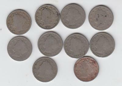 10- Liberty V Nickels-Lot  Mixed Dates Vintage Coins