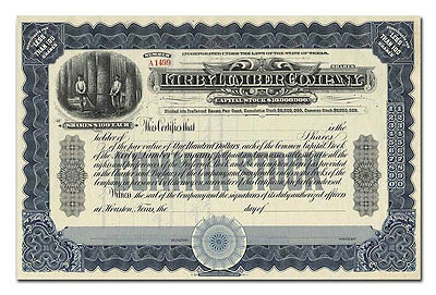 Kirby Limber Company Stock Certificate
