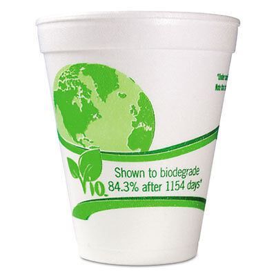 Vio Biodegradable Cups, Foam, 12 oz, White/Green, 1000/Carton 12C18VIO