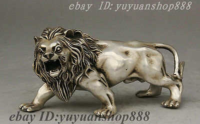 Collect Folk China Silver Strong Ferocious Lion Animal Beautiful Statue Decorate