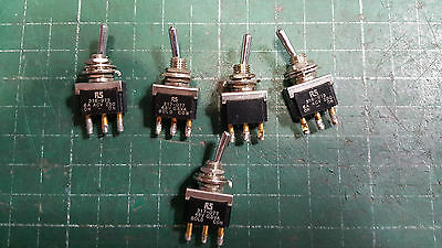5 X Rs Toggle Switch Spdt On-On, 6A  250V Ac