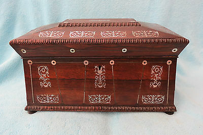 Very Large Victorian Mop Inlaid Sarcophagus Tea Caddy For Tlc