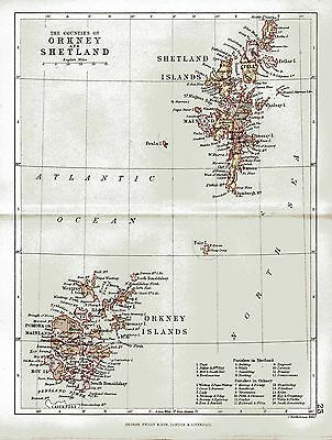 An antique map of Orkney and Shetland (Zetland), Scotland, dated 1884.