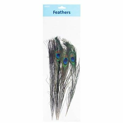 Hobbycraft Peacock Feathers 4 Pack Craft Hat Decoration Soft Fluffy Papercraft