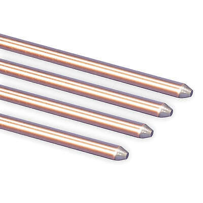 """Pointed End Ground Rod,  8 ft.,  5/8"""" Diameter,  Copper Bonded Steel,  UL"""