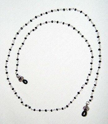 Black Onyx and Sterling Silver Eyeglass Chain- 24 inch length