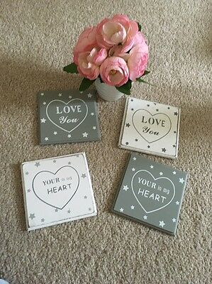 Set Of Four Shabby Chic Wooden Coasters