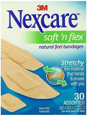 Nexcare Comfort Flexible Fabric Bandage, Latex Free, Assorted Sizes - 30 Count