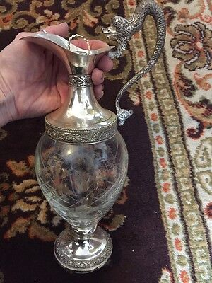 ANTIQUE CUT GLASS Figural Silverplate Wine CLARET PITCHER STOPPER ITALY DRAGON