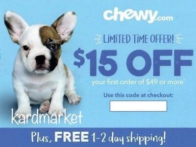 ➡️ CHEWY COUP0N $15 OFF First Order of $49 ~ MANY SOLD! FASTEST! Exp 8/31/18