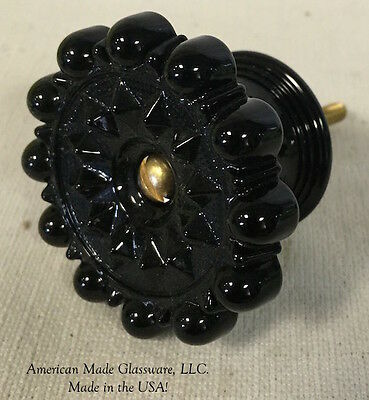 Black Glass Drawer Pull Knob Handle - American Made - Mosser Glass