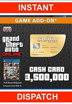 Grand Theft Auto GTA V 5 Online (PS4) Great White Shark Cash Code $1,250,000