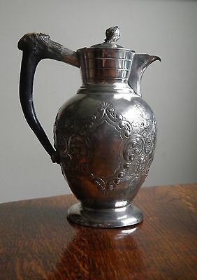 Antique Silver Plated Pitcher Jug John Round Sheffield Naturalistic Handle