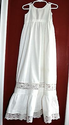 Antique Vintage Christening Gown Pristine White Extra Long Pintucks & Lace