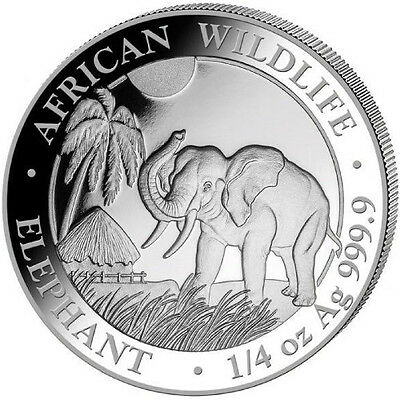 2017 Somalian Elephant 1/4 oz .9999 Silver Coin - 25 SHILLINGS AFRICAN ROUND