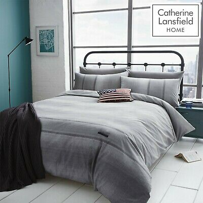 Catherine Lansfield Denim Print Grey Duvet Cover Set Single Double King Size