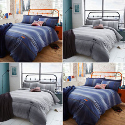 Catherine Lansfield Denim 2 Colours available Blue Grey Duvet Cover Bedding Set