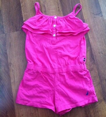 Girls Nautica Pink Romper Strapy Tank Shorts Outfit Size 6