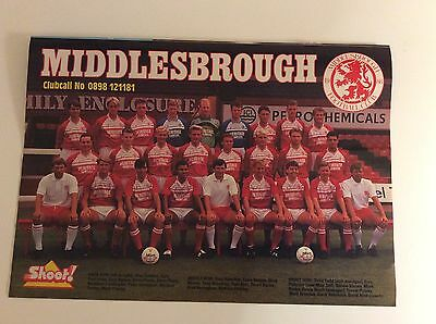 A4 Football TEAM picture/poster MIDDLESBROUGH 1988/89 SEASON SHOOT MAGAZINE