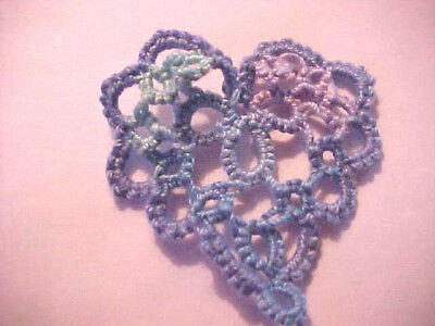 4 Tatted BLUE Hearts Tatting Scrapbooks Crazy Quilts Applique Cards Earrings