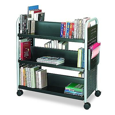 Safco Products 5335BL Scoot Double-Sided Book Cart 6 Shelf Black Double Sided
