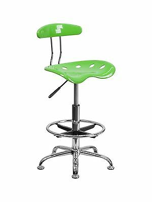 Flash Furniture LF-215-APPLEGREEN-GG Vibrant Apple Green and Chrome Drafting ...