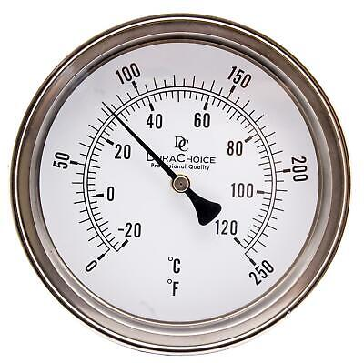 "Industrial Bimetal Thermometer 5"" Face x 6"" Stem, 0-250F w/Calibration Dial"