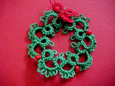 Tatted Wreath 1 Green Red Beads Christmas Tatting by Dove Country Gift Tags