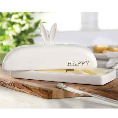 Mud Pie MEA7 Easter Kitchen Ceramic Bunny Ears Butter Dish 2-pc set 4875003