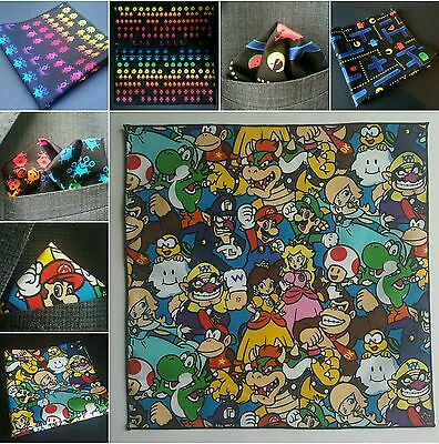 Space Invaders / Pac Man Mario Arcade Pocket Square Various Novelty Handkerchief