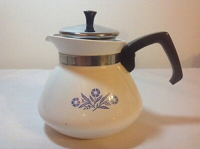 CORNING WARE Blue Cornflower 6 Cup Stove Top Tea Pot with Strainer &  lid