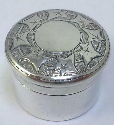 Victorian Antique hallmarked Sterling Silver Pill / Trinket / Patch Box – 1900